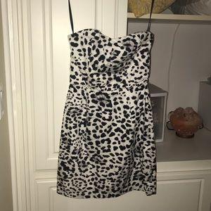 NWOT white leopard print strapless dress 🐆